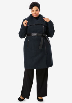 Faux Leather-Trim Coat,