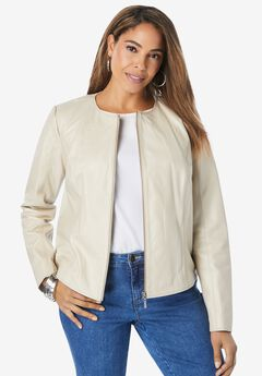 Collarless Leather Jacket, OATMEAL