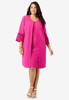 Lace Sleeve Jacket Dress,