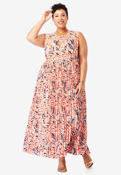 Pleated Maxi Dress, FRESH CORAL ZEBRA