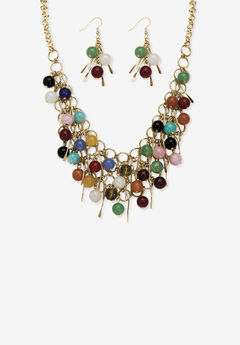 Goldtone Multi Color Genuine Agate Bead and Necklace and Earring Set, 18 inch plus 3 inch extension,