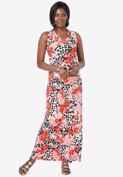V-Neck Maxi Dress, ELECTRIC ORANGE TROPICAL LEOPARD