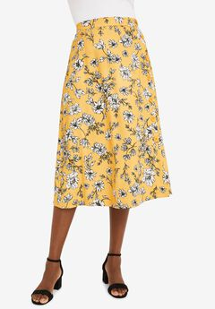 Side-Button Midi Skirt,