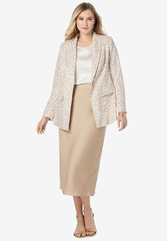 Single-Breasted Skirt Suit, CAMEL TAN ANIMAL