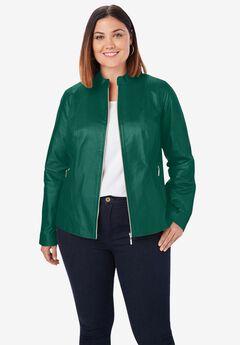 Zip Front Leather Jacket, DARK EMERALD
