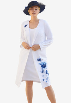 Ponte Jacket Dress, FRENCH BLUE WATERCOLOR PLACEMENT