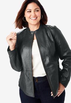 Zip Front Leather Jacket, BLACK