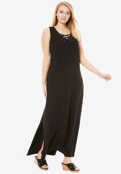 Lace Up Maxi Dress,
