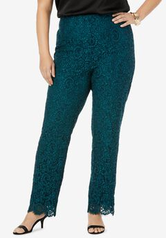 Lace Print Straight Leg Pants,