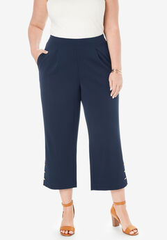 Knit Crepe Wide Crop Pants,