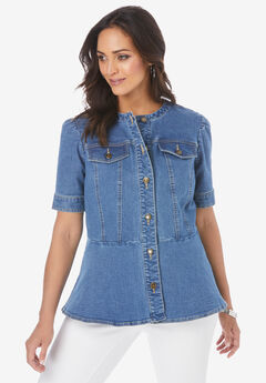 Short-Sleeve Denim Jacket,