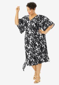 Floral Faux Wrap Midi Dress,