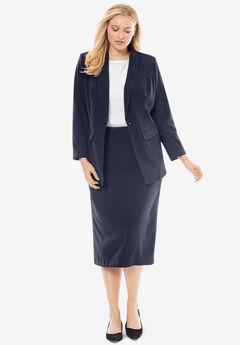 Single-Breasted Skirt Suit, NAVY