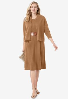Sweater Jacket Dress, BROWN MAPLE