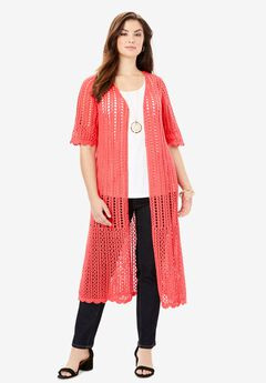Scalloped Crochet Sweater Duster, SOFT GERANIUM