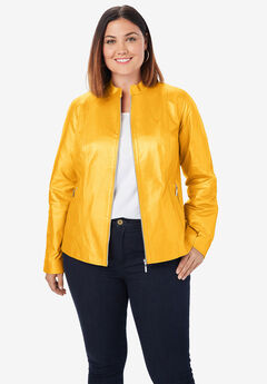 Zip Front Leather Jacket, SUNSET YELLOW