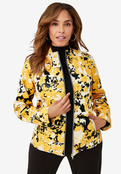 Zip Front Leather Jacket, YELLOW GRAPHIC GARDEN