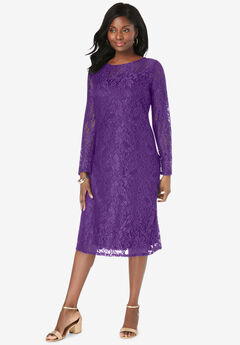 Lace Shift Dress, PURPLE ORCHID