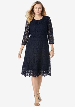 Lace Fit & Flare Dress, NAVY