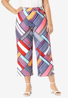 Travel Knit Wide-Leg Crop Pant, PLAYFUL STRIPE