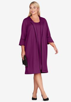 Bell Sleeve Ponte Jacket Dress, TULIP PURPLE BLACK
