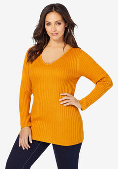 V-Neck Ribbed Sweater,