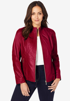 Zip Front Leather Jacket, RICH BURGUNDY