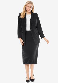 Single-Breasted Skirt Suit, BLACK