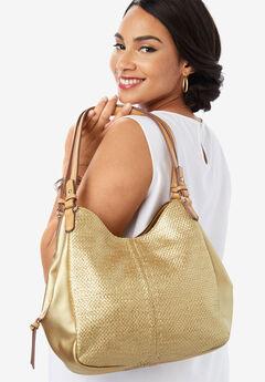 Woven Metallic Hobo Bag, GOLD