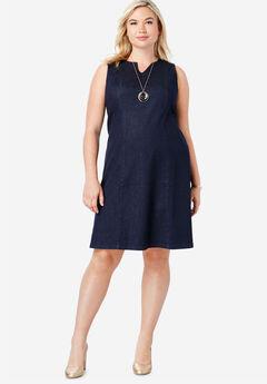 Refined Denim A-Line Dress,