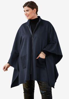 Wool Cape Coat, NAVY