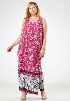 Travel Knit Maxi Dress & Vest Set, BERRY FLORAL BORDER