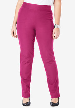 Tummy Control Twill Straight-Leg Pant, BRIGHT BERRY