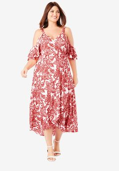 Cold-Shoulder Maxi Dress, GERANIUM FLORAL IKAT