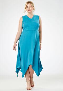 Handkerchief Hem Maxi Dress, SEA BLUE