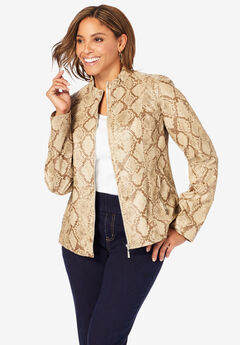 Zip Front Leather Jacket, PALE BROWN SNAKE