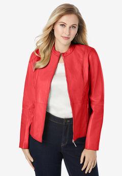 Zip Front Leather Jacket, SOFT GERANIUM
