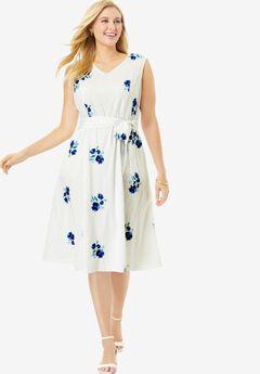 Sleeveless Eyelet Dress, BLUE WILDFLOWER EMBROIDERY
