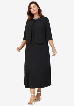 Beaded Jacket Dress, BLACK