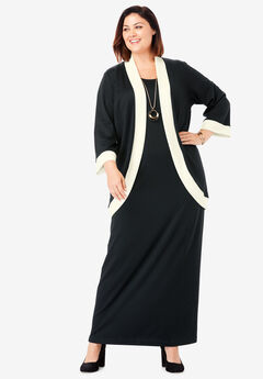 Ponte Jacket Dress, BLACK IVORY