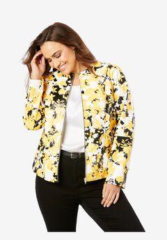 Zip Front Leather Jacket, YELLOW GRAPHIC GARDEN