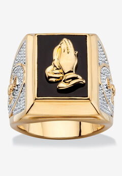 Men's Yellow Gold Plated Natural Black Onyx Praying Hands Ring,