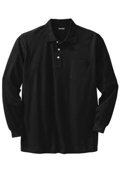 Long-sleeve Piqué Polo, BLACK