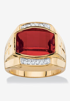 Men's Yellow Gold-Plated Created Ruby White and Diamond Accent Ring,
