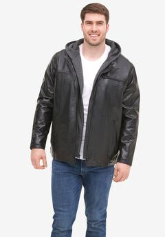 Levi's® Faux Leather Racer Jacket with Jersey Hood and Bib,