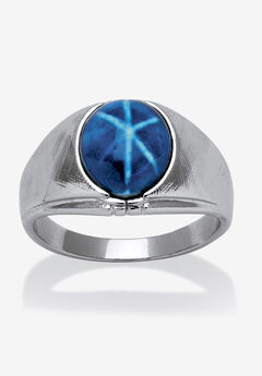 Silver Tone Blue Lucite Ring,