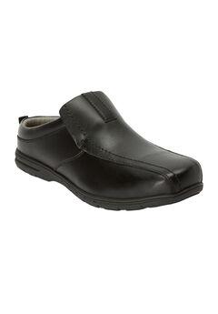 Casual Leather Slides, BLACK