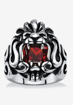 Men's Stainless Steel Antiqued Red Cubic Zirconia Lion's Head Ring,