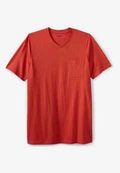 Shrink-Less™ Lightweight V-Neck Pocket T-Shirt,