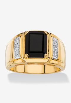 Men's 18K Yellow Gold-plated Genuine Diamond and Black Onyx Ring,